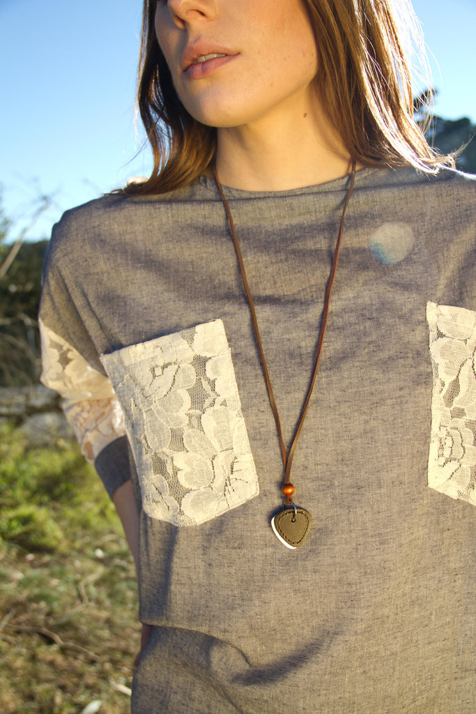 Heart & Leather Necklace