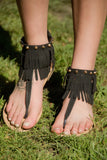 Cathy Fringe Sandals Black