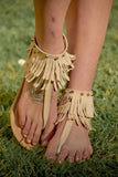 Cathy Fringe Sandals Beige