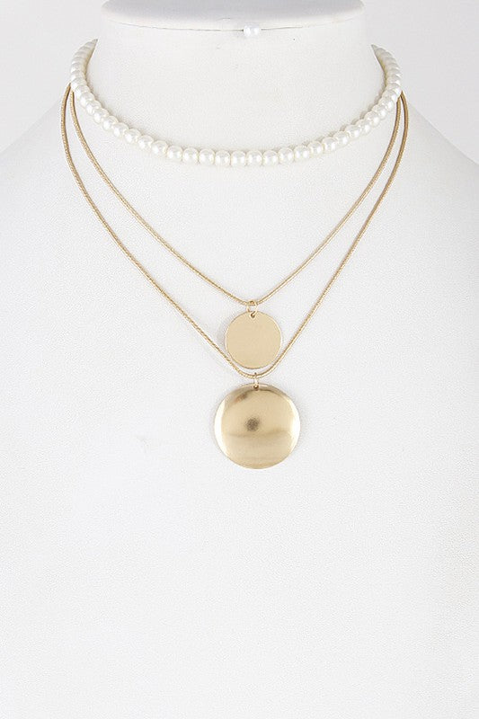 Circle & Pearl Choker Necklace