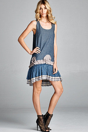 Ruffle Bottom Denim Dress