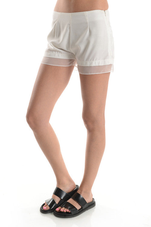 Dainty Chiffon Trimmed Shorts (2 Colors)