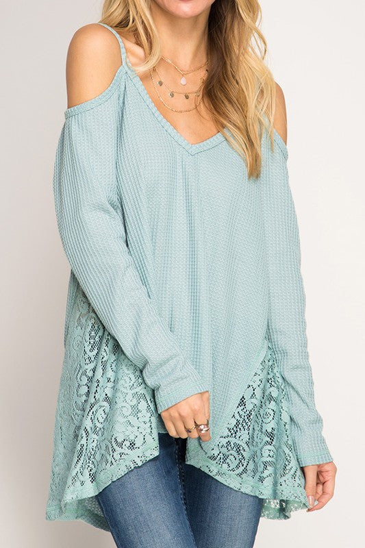 Baby Its Cold Outside Thermal Top - Baby Blue