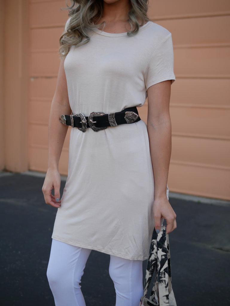 Sally Basic Short Sleeve Top - Taupe