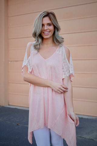 Sweet Blush Cold Shoulder Top