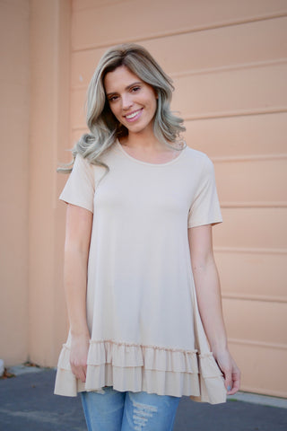 Basic Short Sleeve Ruffles Top