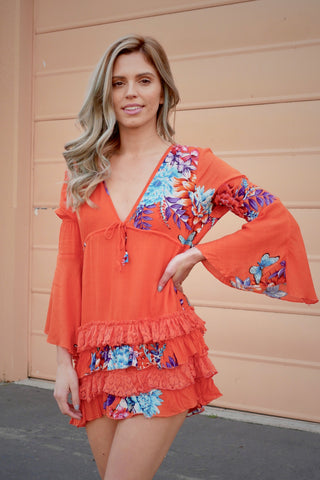 Orange Dashes Tunic Top