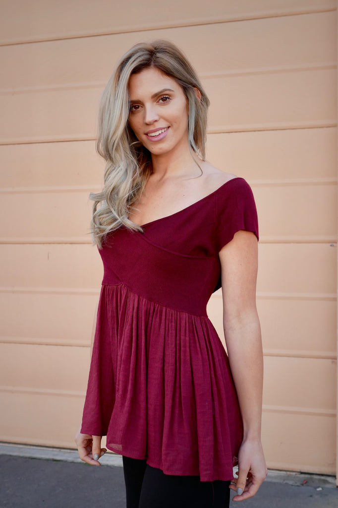 In Bloom Top - Burgundy