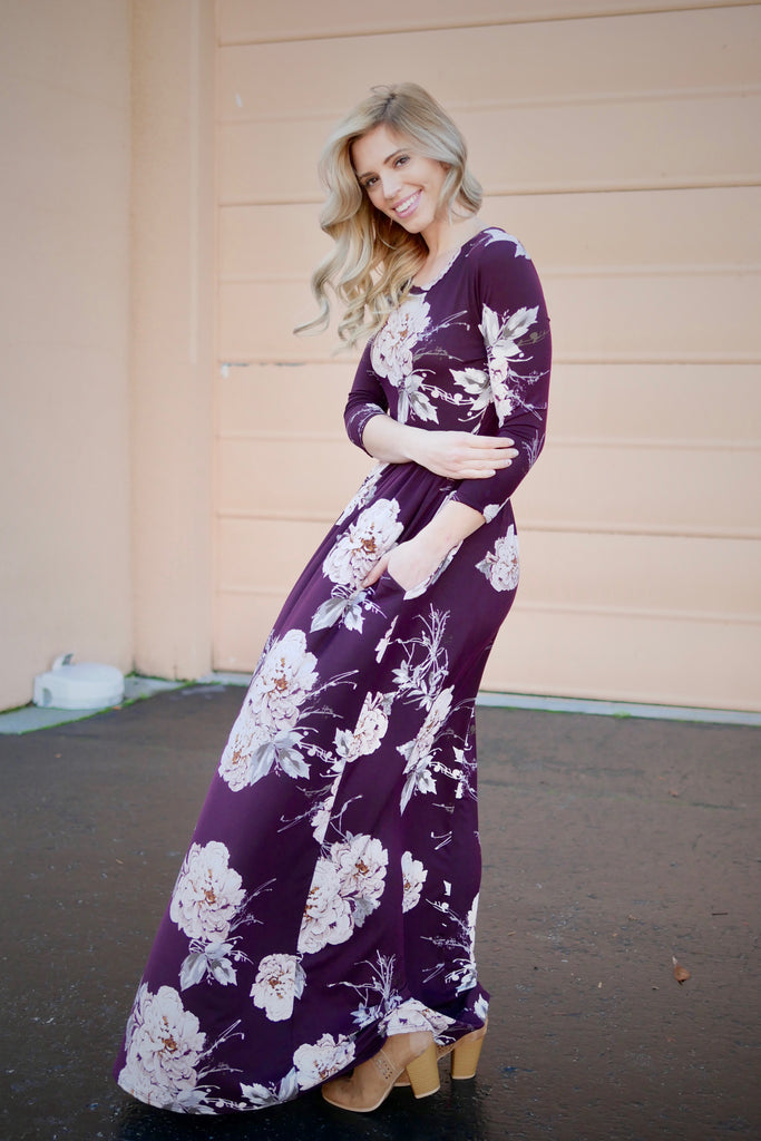 Printed Love Floral Maxi Dress