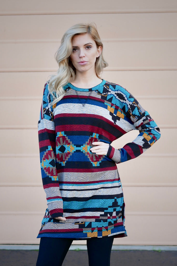 Jazzy Print Tunic Top (All Sizes)
