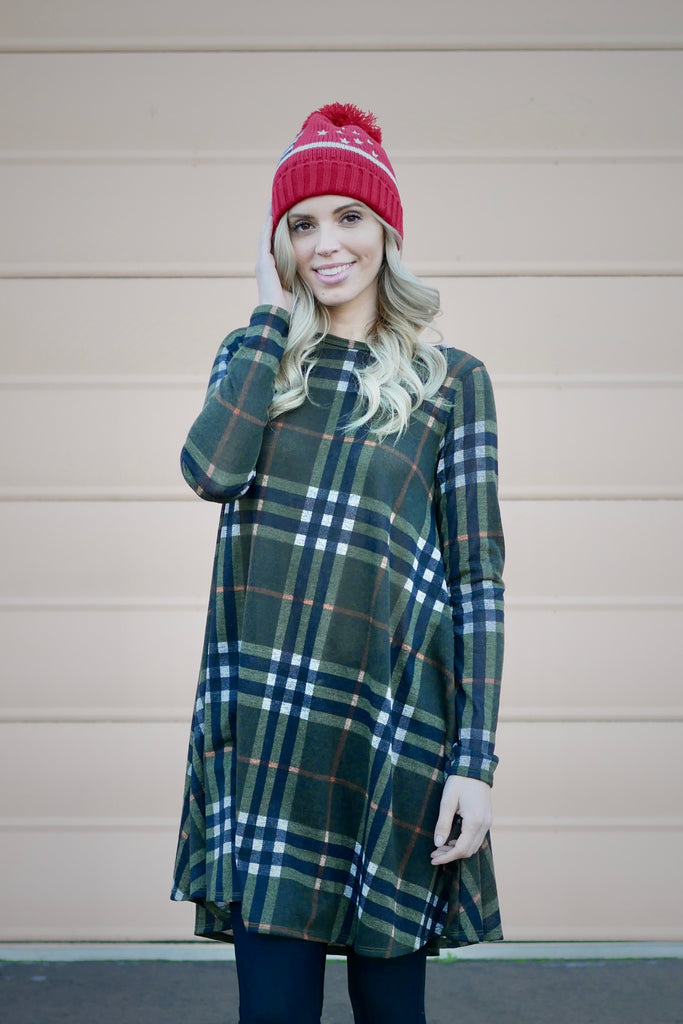 Check Please Sweater Knit Dress (All Sizes)