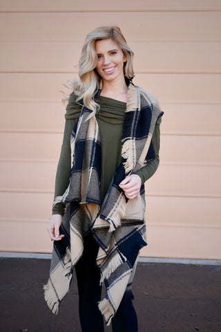 All Vested Fringed Plaid Scarf Vest