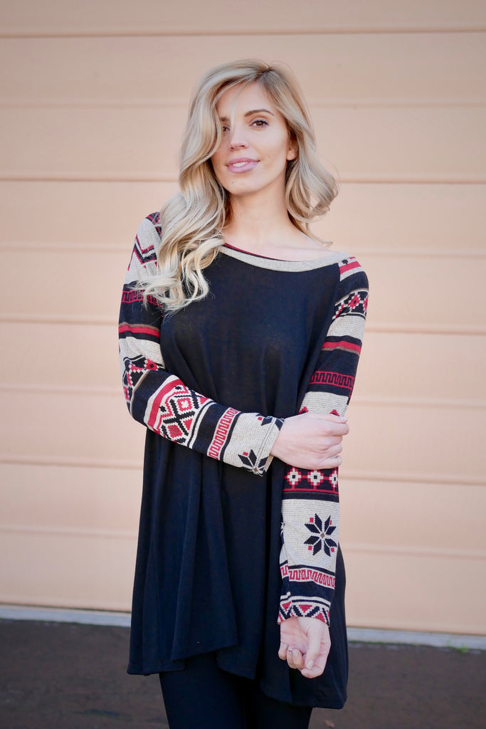 Tribal Pattern Long Sleeve Plus Top