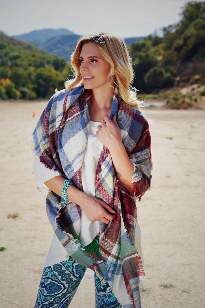 I Love Plaid Blanket Scarf