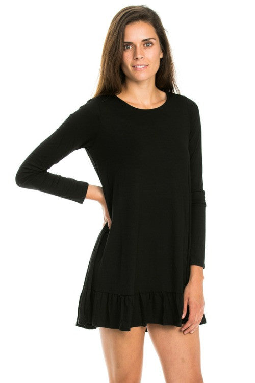 Basic Round Neck Ruffle Tunic