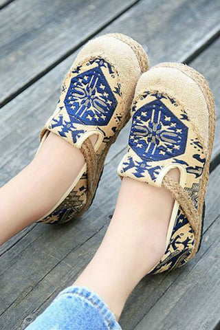 Cotton Flax Slip On Loafer