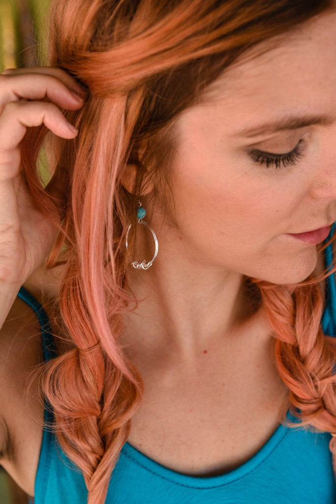 Turquoise Wire Hoop Earrings