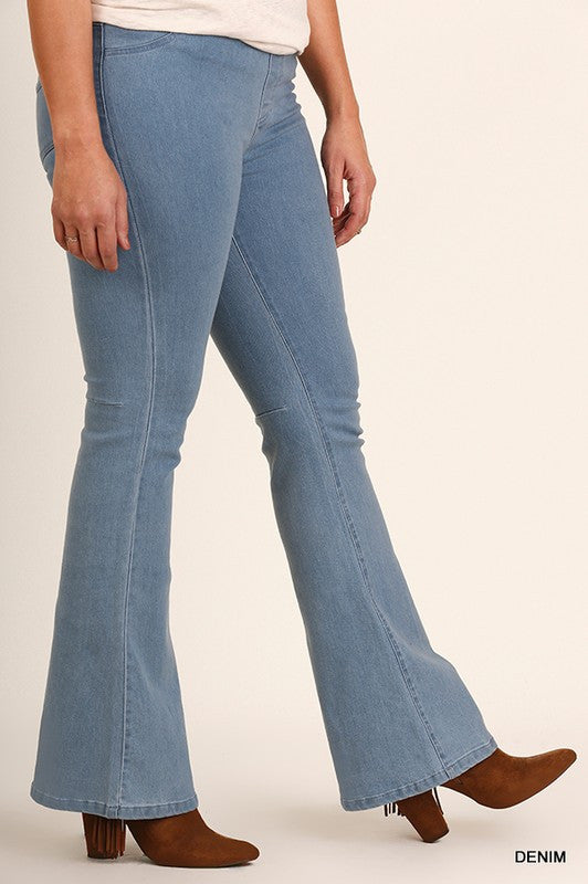All Bells Basic Bell Bottoms Plus Leggings - Denim