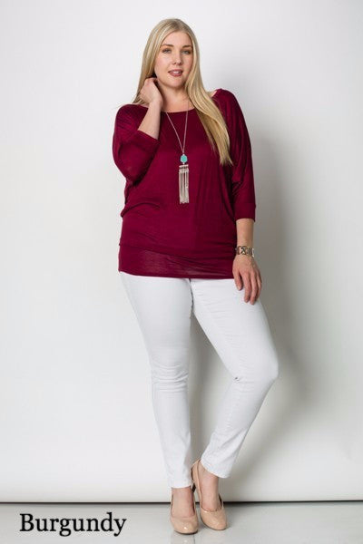 Long Sleeve Dolman Top Plus Size (Pack of 2)
