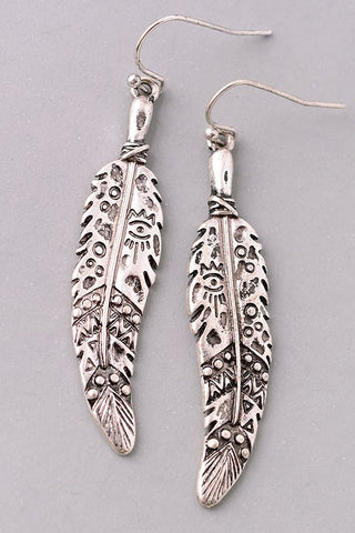Hieroglyph Feather Earrings