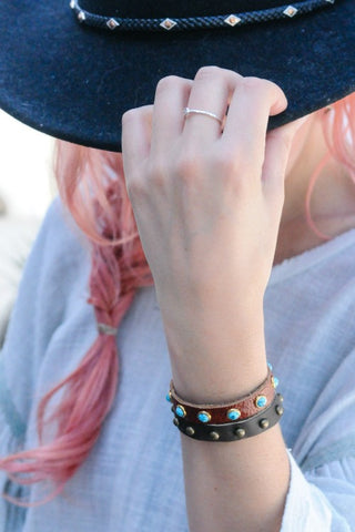 Turquoise Studded Leather Layering Bracelet (3 Colors)