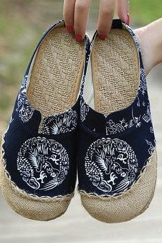 Cotton Flax Slip On Mule