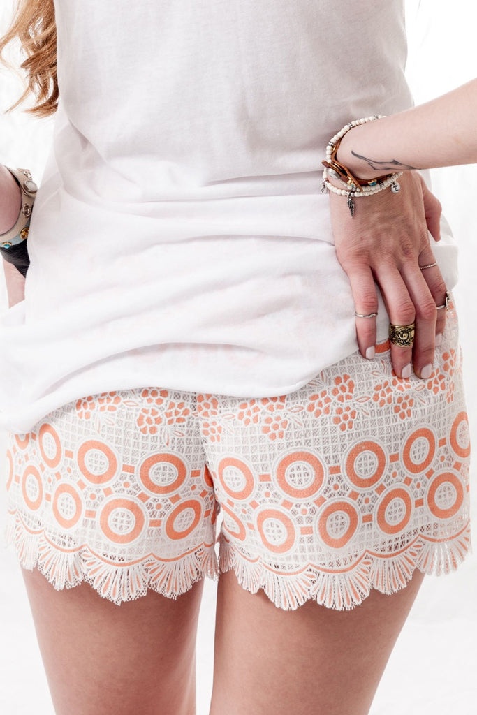 Orange Cream Lace Shorts