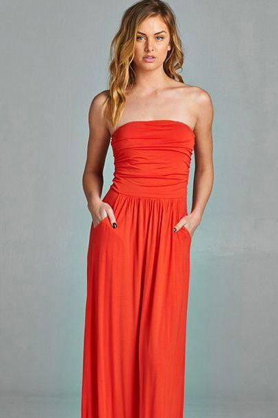 Pocket Maxi Dress - Tomato