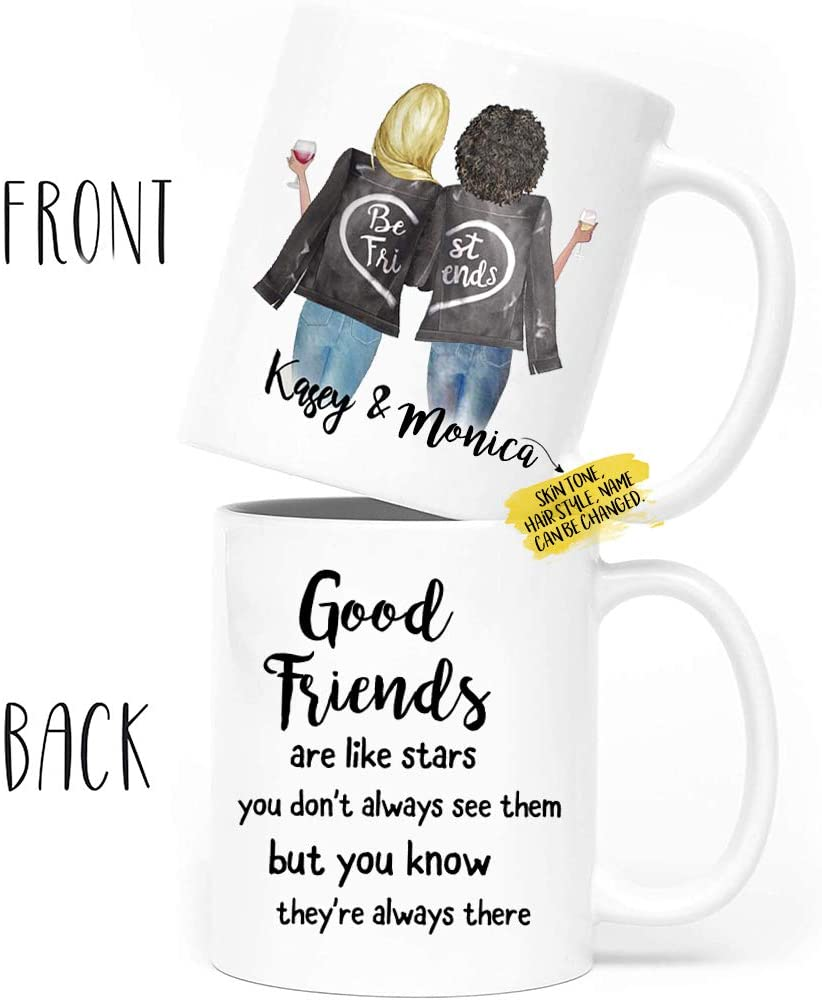 Custom Best Friend Gift Coffee Mug for Women with Names - Choose Hair Skin Color - Personalized Friendship BFF Mug for Besties, Good Friends Birthday, Moving Away, Galentines Day Gifts 11 Oz