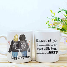 Load image into Gallery viewer, Personalized Best Friend Gifts Mug with Names, Custom BFF Mug with Hair, Skin Tone for Besties, Bff, Good Friends Birthday, Galentines Day Gifts, Because of You I Laugh a Little Harder 11 Oz