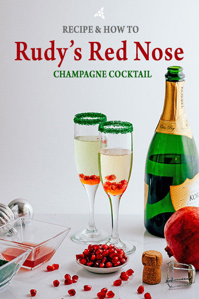 Rudy's Red Nose - Champagne Christmas Cocktail with Rimming Sugar