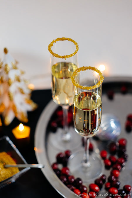 Champagne Christmas Cocktail with Rimming Sugar