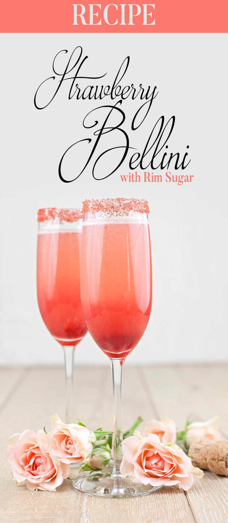 Valentine's Day Cocktail - Strawberry Bellini with Rim Sugar