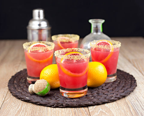 Blood Orange Cocktail with Gold Rimming Sugar