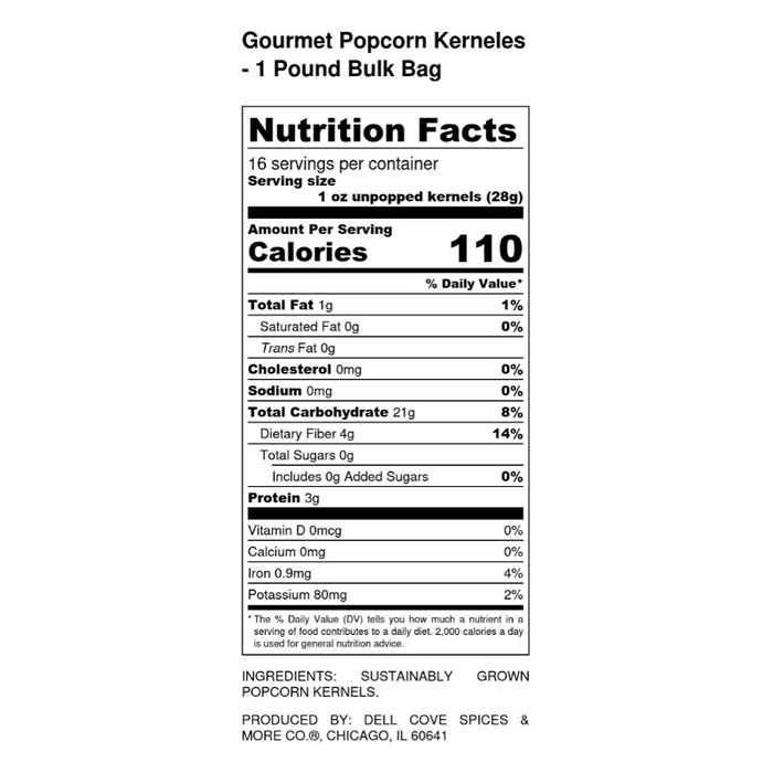 Gourmet Popcorn Kernels - 1 pound bulk bag - Dell Cove Spice - 800 x 800 nutritional label
