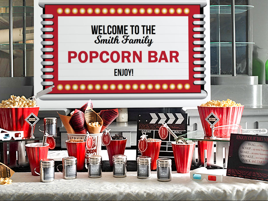 Printable Movie Night Popcorn Bar Decorations - Dell Cove Spices and More Co