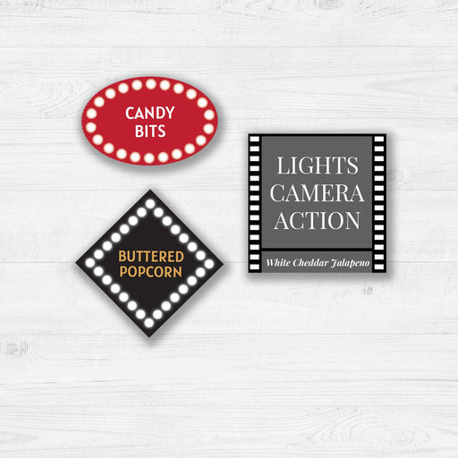 Printable Movie Night Popcorn Bar: Labels & Tags