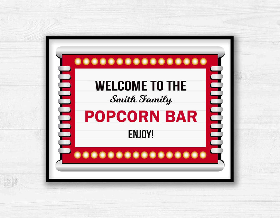 Printable Movie Night Popcorn Bar Marquee Sign