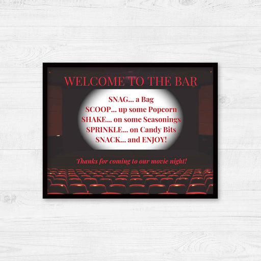 Printable Movie Night Popcorn Bar: Movie Screen Table Sign