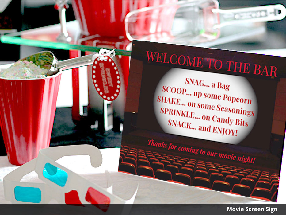 Printable Movie Night Popcorn Bar Decorations - movie marquee you can edit for DIY popcorn bar - Dell Cove Spices and More Co