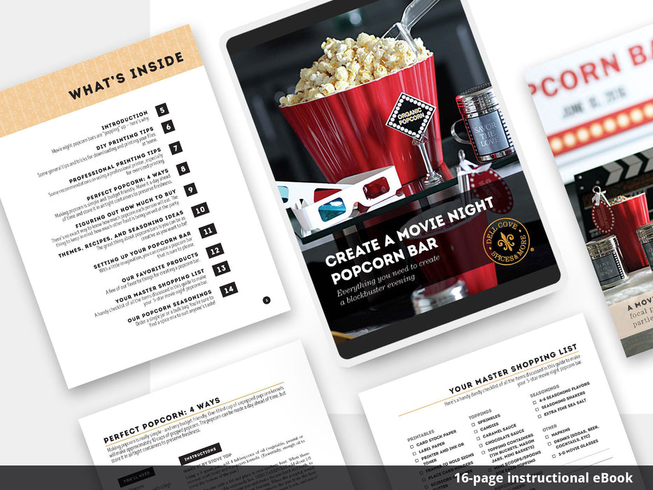 Printable Movie Night Popcorn Bar Decorations - eBook for DIY popcorn bar - Dell Cove Spices and More Co