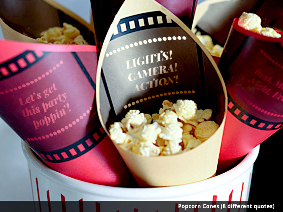 Printable Movie Night Popcorn Bar Decorations - printable movie bar spice popcorn seasoning shakers - movie marquee you can edit for DIY popcorn bar cones - Dell Cove Spices and More Co