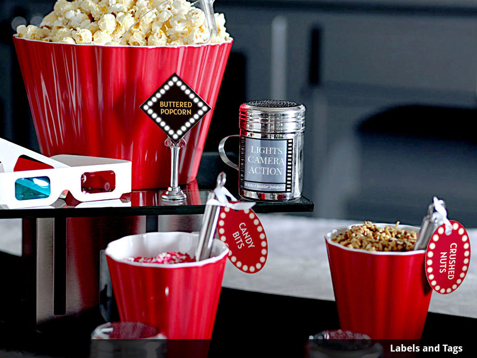 Printable Movie Night Popcorn Bar Decorations - printable movie bar spice popcorn seasoning shakers - movie marquee you can edit for DIY popcorn bar - Dell Cove Spices and More Co