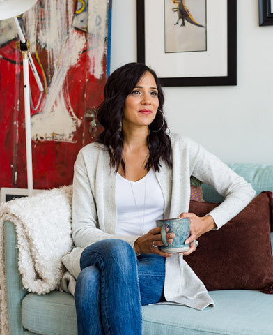 Katherine Earl, My Life Creative Founder on couch