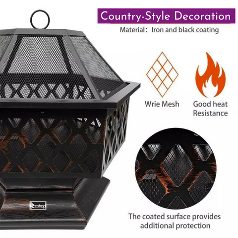 wood burning outdoor fireplace, outdoor fire pit, wood burning fire pit, backyard fire pit, hexagon fire pit