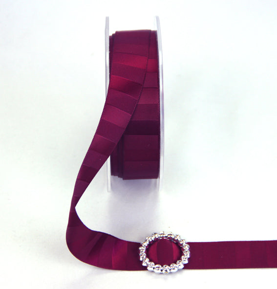 18mm Double Sided Vertical Stripe Satin 'Burgundy'