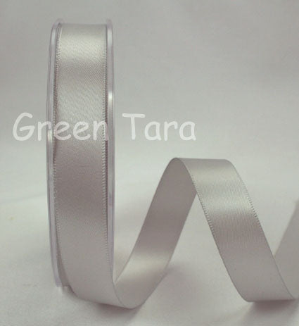 3mm Double Sided Satin Ribbon 'Silver Grey'