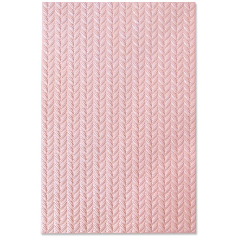 Sizzix 3D Texture Fades Embossing Folder By Tim Holtz - Knitted