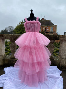 Sydney Pastel Pink Tiered Tulle Dress