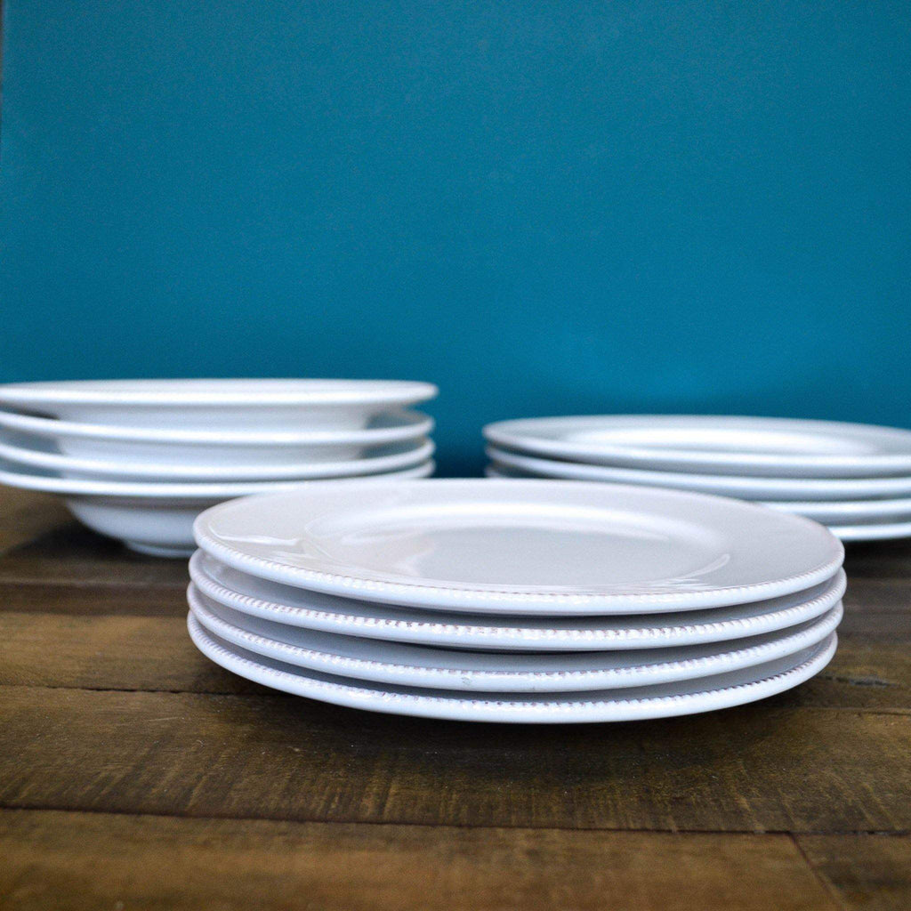 12 Piece White Dinner Set Woth Dotted Edge - Liv's